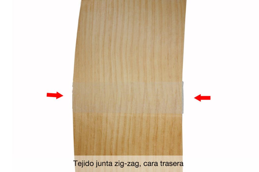 Chapa natural con tejido junta Zig Zag trasera