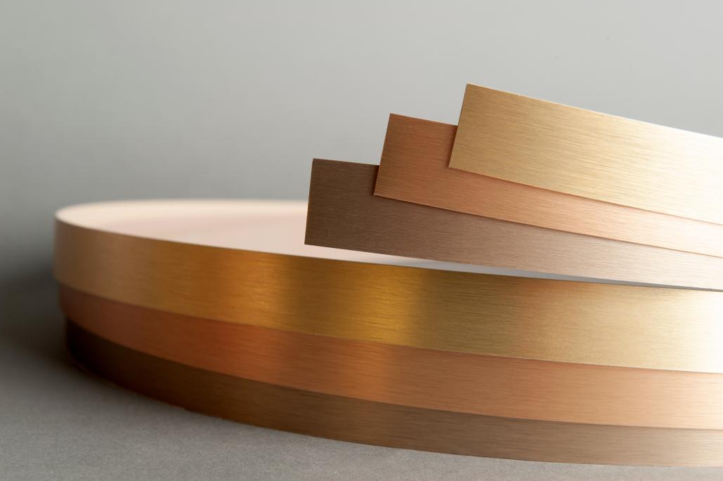 Canto oro rosa, canto oro y canto bronce metalizados con acabado inox.