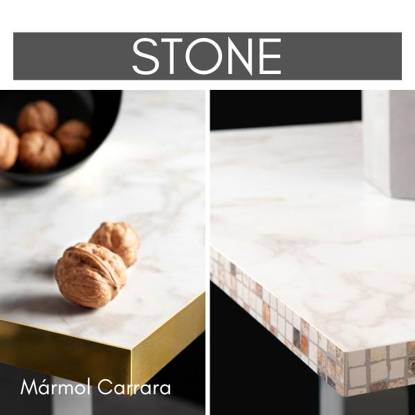Losan's Mamol Carrara with gold inox edgeband and mosaic edgeband