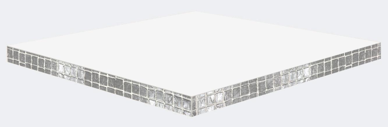 Canto mosaico PVC reflejo plateado